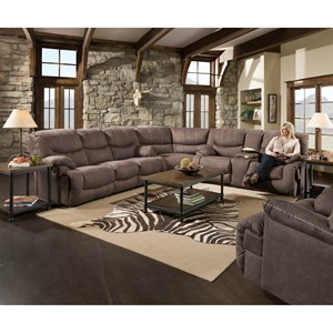 Casual 3-Piece Reclining Sectional with Storage and Cupholders