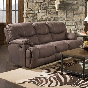 Casual Double Power Reclining Sofa with Drop Down Table