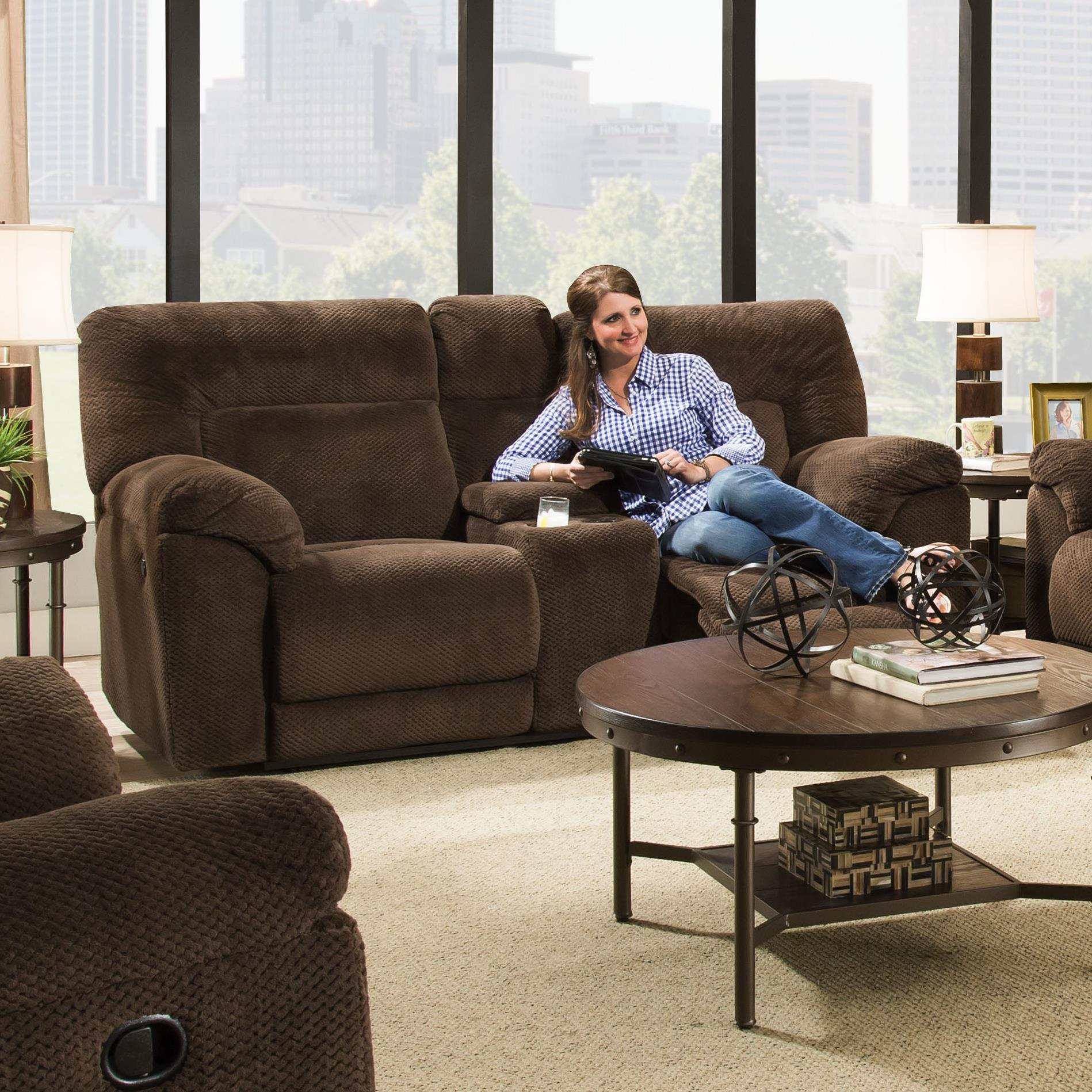 50570 Double Motion Loveseat w/ Console by United Furniture Industries at Dream Home Interiors