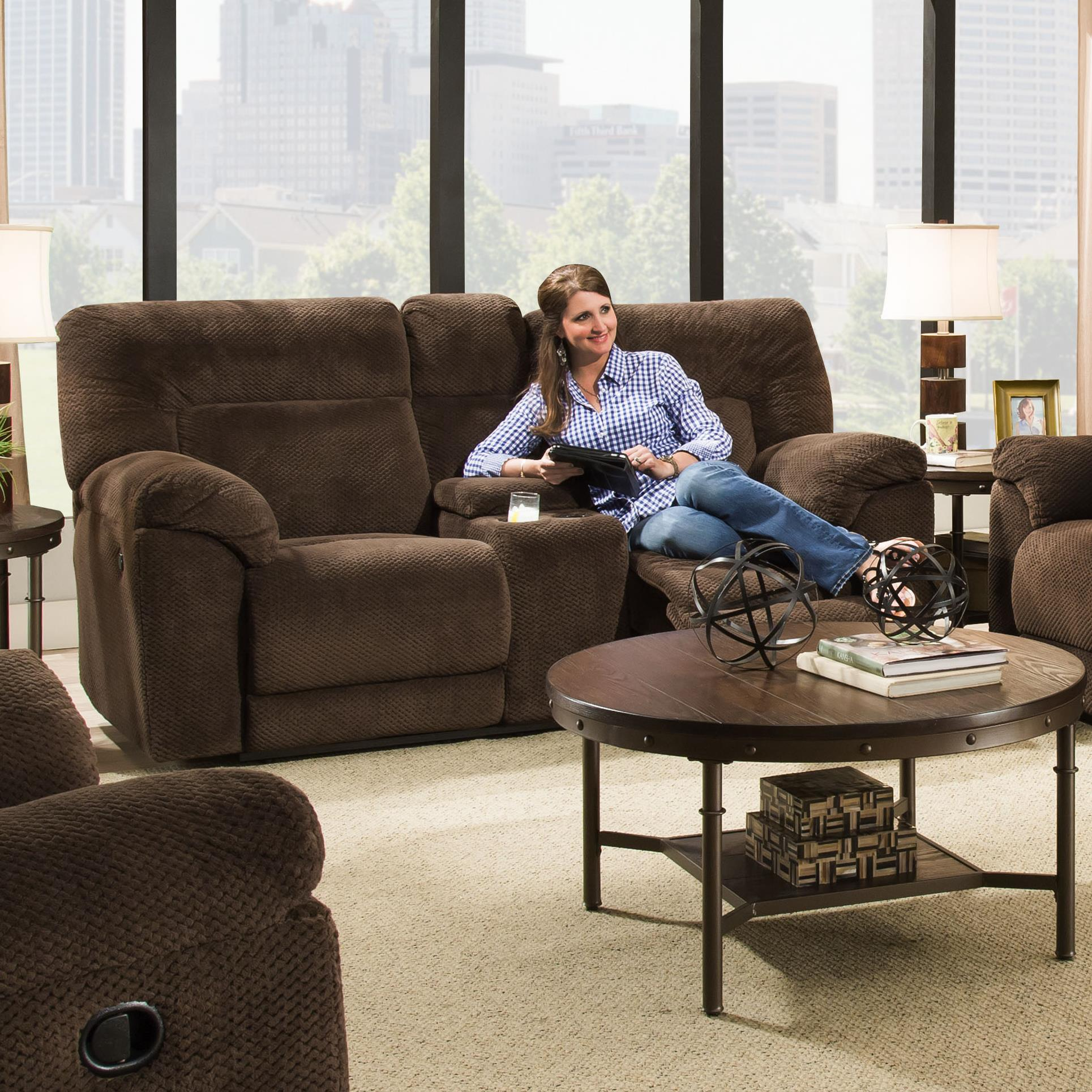 50570 Power Double Motion Loveseat w/ Console by United Furniture Industries at Dream Home Interiors