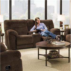 Casual Power Double Motion Loveseat with Console