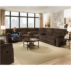 Casual Power Reclining Sectional Sofa with Storage Console