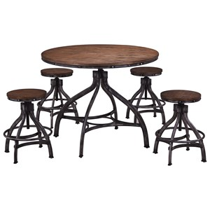 Contemporary Industrial 5 Piece Round Table and Stool Set