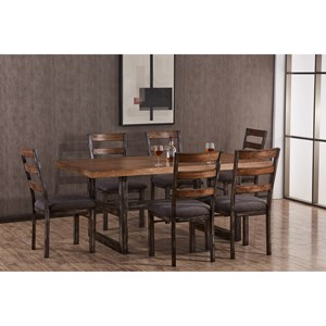 Industrial 7 Piece Table and Chair Set