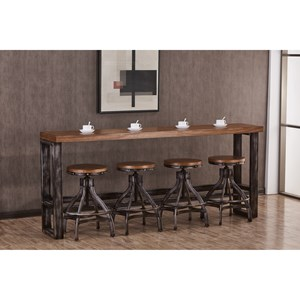 Contemporary Industrial Console Table and Adjustable Stool Set
