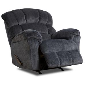 Large Scale Power Rocker Recliner with Plush Back Cushions