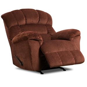 Large Scale Rocker Recliner with Plush Back Cushions