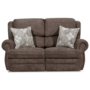 Transitional Reclining Loveseat with Rolled Arms