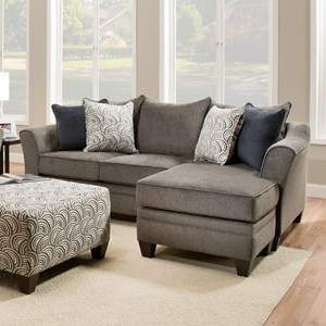 Transitional Sofa Chaise with Flared Arms