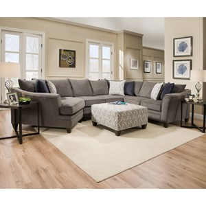 Transitional Sectional Sofa with Wood Legs