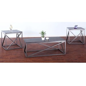 Contemporary 3-Pack Occasional Tables with Metal Bases