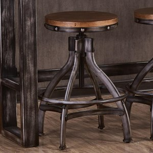 Industrial Bar Stool with Adjustable Height