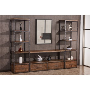 Contemporary Industrial Wall Unit With Open and Concealed Storage