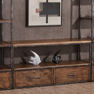 Contemporary Industrial TV Console with Distressed Finish