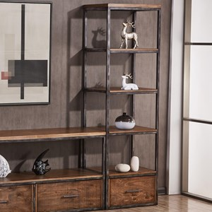 Contemporary Industrial Open Bookcase with Distressed Finish