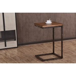 Contemporary Industrial Chairside Table with Distressed Finish
