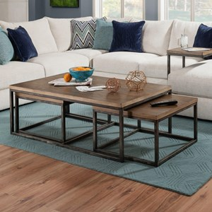 Contemporary Industrial Nesting Coffee Table with Distressed Finish