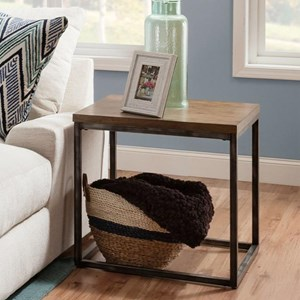 Contemporary Industrial End Table with Distressed Finish