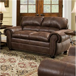 Casual Loveseat with Oversize Rolled Arms