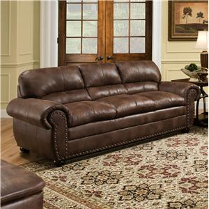 Casual Sofa with Rolled Arms and Nailhead Trim