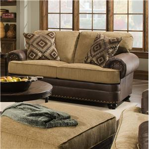 Rustic Style Loveseat with Nail Head Trim