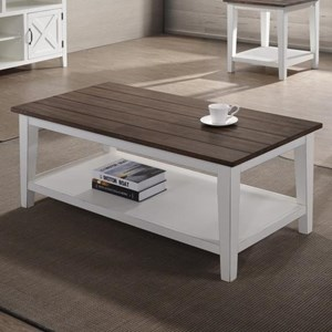 Transitional Two-Tone Coffee Table with Slatted Table Top