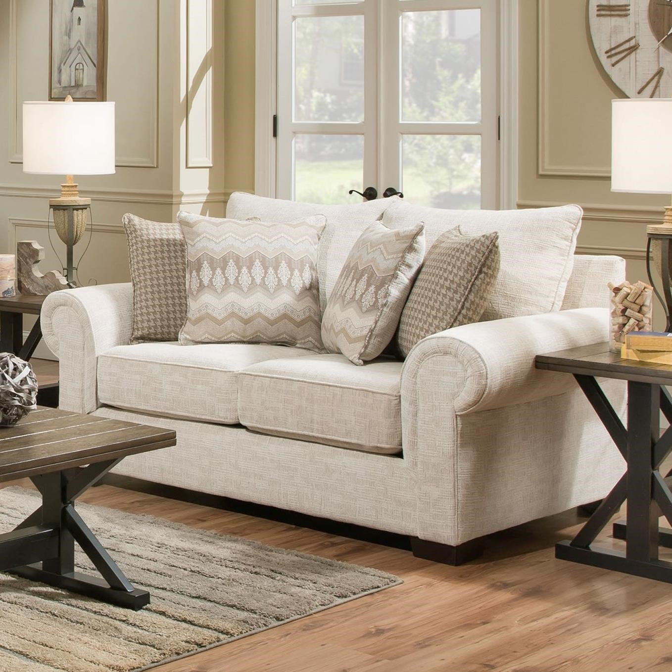 7592BR Transitional Loveseat by United Furniture Industries at Pilgrim Furniture City