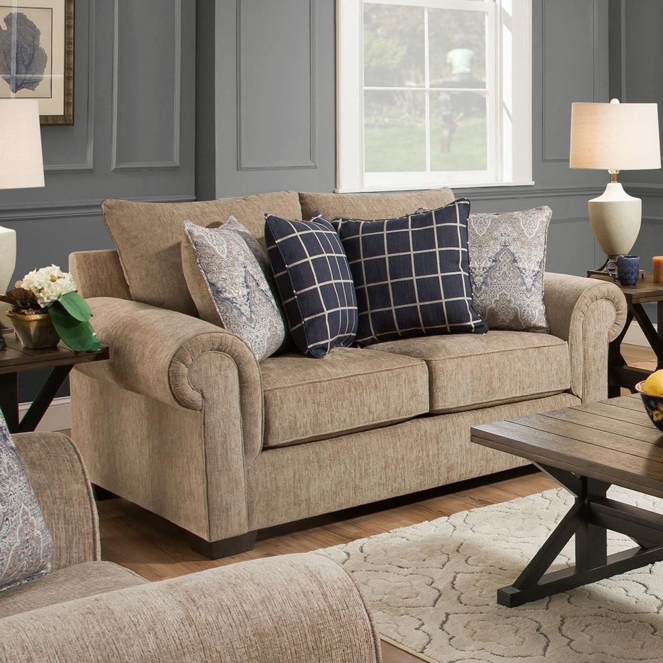 7592BR Transitional Loveseat by United Furniture Industries at Dream Home Interiors