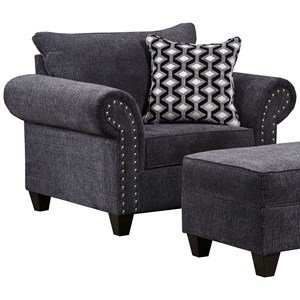Transitional Chair with Nail Head Accent Trim