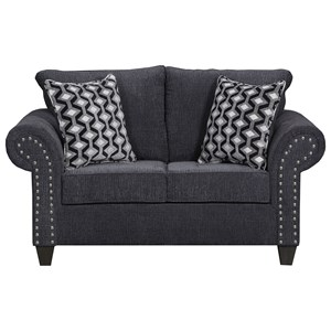 Transitional Love Seat with Nail Head Accent Trim