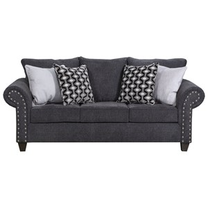 Transitional Sofa Sleeper with Nail Head Accent Trim