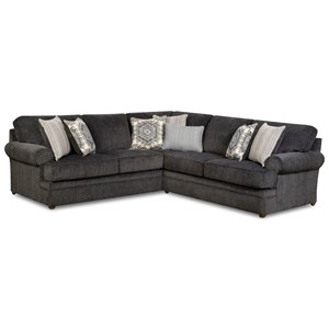 Transitional Sectional Sofa with Rolled Arms