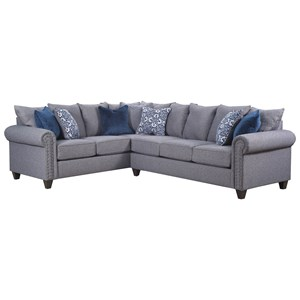 Transitional 5 Seat Sectional with Nailhead Trim