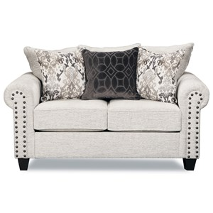 Transitional Love Seat with Nailheard Trim
