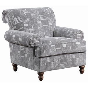Transitional Accent Chair with Turned Legs
