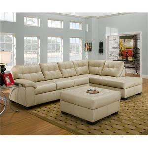 Casual Sectional Sofa with Tufted Seat Back