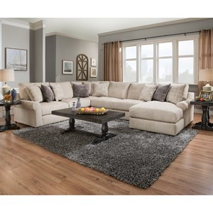 Transitional Sectional with Pocketed Coil Seating