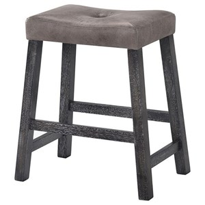 Transitional Set of 2 Backless Stools with Upholstered Seat