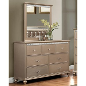 Transitional Dresser and Mirror Set with Crystal Inserts
