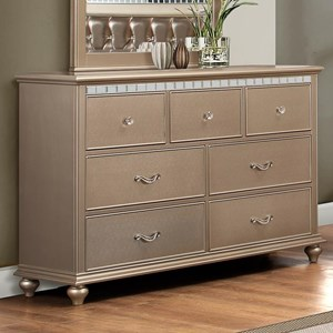 Transitional Dresser with Crystal Inserts