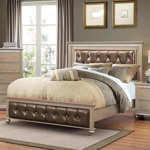 Transitional King Bed with Upholstered Headboard and Footboard