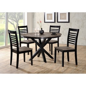 Transitional 5 Piece Round Dining Table and Chair Set with Trestle Base