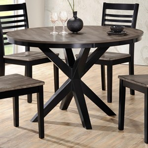 Transitional Round Dining Table with Trestle Base