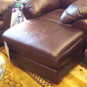 United Leather Churchill Leather Upholstered Ottoman