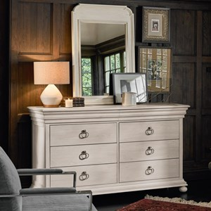 Traditional Dresser and Mirror with Concealed Drawers