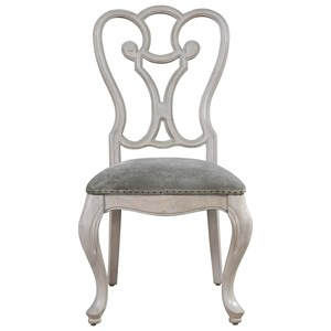 Traditional Side Chair with Upholstered Seat and Nailhead Trim