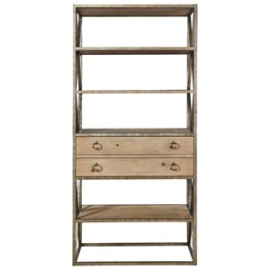 Etagere with Four Metal Framed Wood Shelves