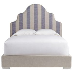 Queen Sagamore Hill Panel Bed with Coastal Stripe Blue Headboard