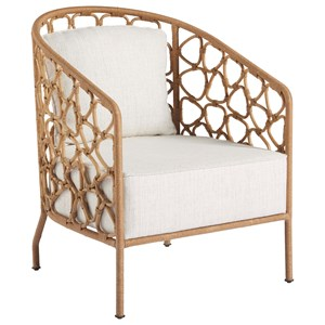 Pebble Accent Chair with Rattan