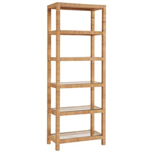 Long Key 5 Shelve Etagere in Rattan